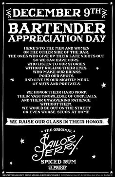 Bartender Appreciation Day... Thank you Sailor Jerry!