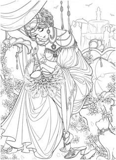Detailed Coloring Pages, Cute Coloring Pages, Printable Coloring Pages, Adult Coloring Pages, Coloring Books, People Coloring Pages, Devian Art, Princess Coloring, Lowbrow Art