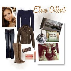 Elena Gilbert look by fefi-colusso on Polyvore featuring MANGO, BKE, Frye, H&M, Witchery, Amie, Forum and D'Argent