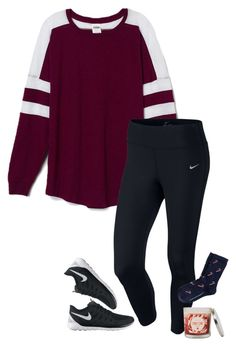 """""""sending Christmas cards """" by sassy-and-southern ❤ liked on Polyvore featuring Victoria's Secret PINK, NIKE, Sonoma life + style and sassysouthernwinter"""