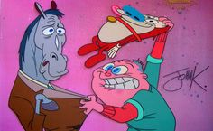 mr horse, george, and stimpy