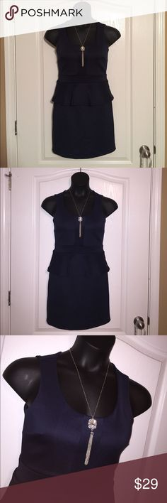 """Navy Peplum Dress Sexy exposed back fitted peplum dress. Armpit to hem is approximately 25.5"""". NO TRADES Dresses Mini"""