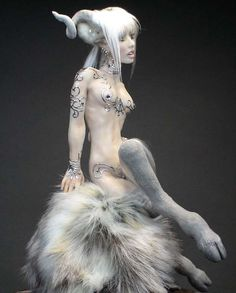 Faun, Satyr, Artist Doll, One of a Kind Sculpture by Barbara Kee
