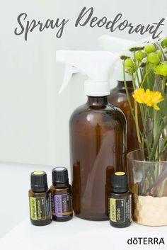 DIY Spray Deodorant. All you need is 8 Tbsp distilled water, 4 Tbsp Witch Hazel, 2 Tbsp Veggie Glycerin, 10 drops Lavender, 10 drops Lemon, 10 drops Bergamot. Put in spray bottle and shake before use!