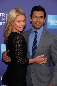 """Kelly Ripa and Mark Consuelos Photos Photos - (L-R) TV personality Kelly Ripa and athlete Mark Consuelos attend  the premiere of """"Off the Rez"""" during the 2011 Tribeca Film Festival at SVA Theater on April 26, 2011 in New York City. - Premiere Of """"Off The Rez"""" At The 2011 Tribeca Film Festival"""