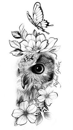 Family Tattoo Designs, Owl Tattoo Design, Tattoo Sleeve Designs, Owl Sleeve Tattoos, Sketch Tatto, Owl Tattoo Drawings, Buho Tattoo, Chicanas Tattoo, Lechuza Tattoo