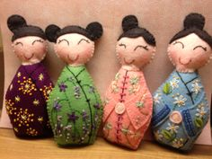 More hand embroidered felt Kokeshi dolls