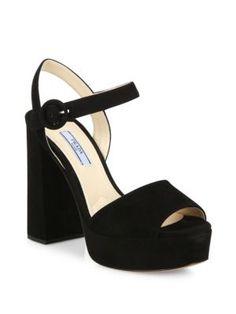 32ff29ccd1e PRADA Suede Peep-Toe Platform Sandals.  prada  shoes  sandals Ankle Strap