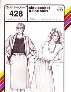Stretch & Sew 428 Misses Side Pocket A-Line Skirt Sewing Pattern Misses Hip Size 32 to 48 Vintage 1980s Stretch & Sew,http://www.amazon.com/dp/B00CRRGK08/ref=cm_sw_r_pi_dp_h.Nlsb1GN4DAJCKK
