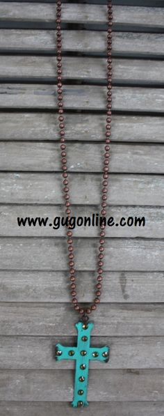 Long Rust Chain with Turquiose Metal Cross with Crystals www.gugonline.com $24.95