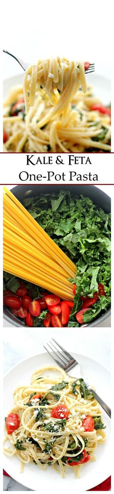 Kale and Feta One-Pot Pasta   www.diethood.com   Healthy, quick and easy pasta dinner with Kale and Feta Cheese.
