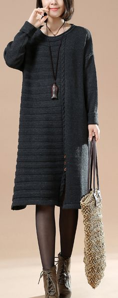 Fine gray half cable knit sweaters oversize knit dresses