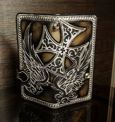 Hand-tooled leather biker wallet, hand-carved wallet, mens wallet, tooled wallet, carved biker wallet, leather wallet, long wallet