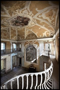 Believe it or not...an abandoned villa in Tuscany, Italy.  This one hurts my heart.  This ceiling alone is incredible.