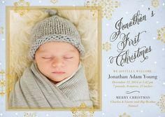 Shining Arrival - Winter Boy Birth Announcements by Hello Little One for Tiny Prints in Stream Blue