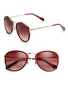 3278cba4a798 Oliver Peoples - Red J Gold Plastic Overlay Metal Sunglasses - Lyst