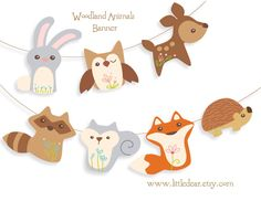 Printable Woodland Animals Banner Set 1 PDF digital by littledear Woodland Critters, Woodland Theme, Woodland Baby, Woodland Creatures, Woodland Animals, Woodland Room, Sea Creatures, Party Animals, Animal Party
