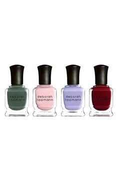 Deborah Lippmann 'Girls' Set - Hannah: hapless hunter green.  - Marnie: prim and proper pink.  - Shoshanna: virtuous and vivid violet.  - Jessa: bohemian burgundy.