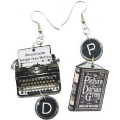 hand-crafted earrings. This pair of earrings are created from an image of a vintage typewriter and two lines from The Picture of Dorian Gray on its paper. Also featured is the cover of the book plus a picture of Oscar Wilde himself, along with replica typewriter keys.