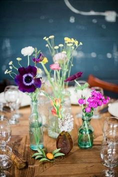 wildflower centerpieces - photo by Christina Lilly… Photo Centerpieces, Wildflower Centerpieces, Wedding Table Centerpieces, Wedding Flower Arrangements, Wedding Decorations, Centerpiece Ideas, Centerpiece Flowers, Wedding Themes, Floral Wedding