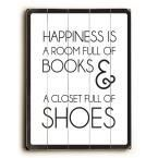 "18 in. x 24 in. ""Happiness is"" by Amanda Catherine ""Planked Wood"" Wall Art"