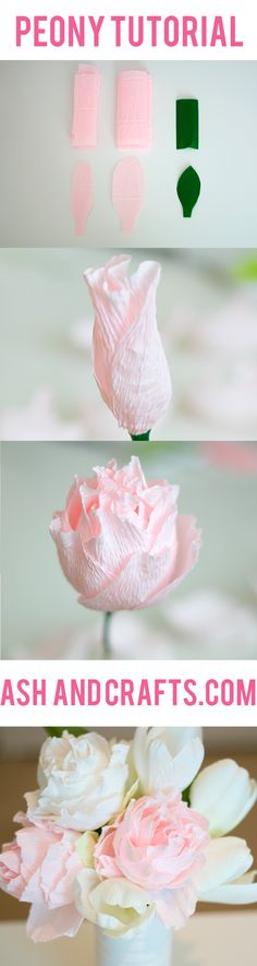 Paper Peony Tutorial using Crepe Paper. Shop our crepe paper on our Paper Mart website for your next craft! Handmade Flowers, Diy Flowers, Fabric Flowers, Origami Flowers, Paper Flowers Wedding, Faux Flowers, Paper Peonies, Paper Roses, Crafts To Make