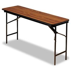 "Iceberg - Premium Wood Laminate Folding Table, Rectangular, 72w x 18d x 29h, Oak - Sold As 1 Each - Wear-resistant, 3/4"" melamine over particle board top. by Iceberg Products. $156.99. Iceberg - Premium Wood Laminate Folding Table, Rectangular, 72w x 18d x 29h, OakWear-resistant, 3/4"" melamine-over-particle board top and melamine sealed underside. Full- length steel support skirt. Vinyl, T-molded edges. 1"" diameter, heavy gauge steel legs with heavy duty protective foot caps...."