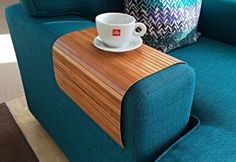 Stylish flexible sofa tray from natural bamboo with brown finish. Unique Christmas gift idea for men and women.