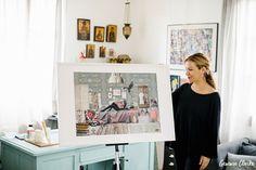 Athina Vlachaki - Artist Portraits in Skopelos Greece Skopelos Greece, Home Studio, Beautiful Homes, Gallery Wall, Portraits, Frame, Artist, Photography, Home Decor