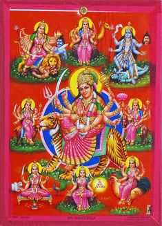 Nava Durga - Wall Hanging - Table Top and Wall Hanging Pictures (Paper Reprint with Cardboard Base)