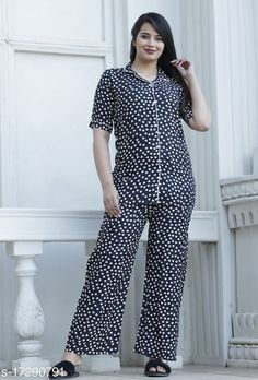 Nightsuits Women Rayon Nightsuit Top Fabric: Rayon Bottom Fabric: Rayon Top Type: Regular Top Bottom Type: Patiala Pants Sleeve Length: Short Sleeves Pattern: Printed Multipack: 1 Sizes: S (Top Bust Size: 36 in, Top Length Size: 29 in, Bottom Waist Size: 27 in, Bottom Hip Size: 40 in, Bottom Length Size: 40 in)  XL (Top Bust Size: 42 in, Top Length Size: 29 in, Bottom Waist Size: 29 in, Bottom Hip Size: 44 in, Bottom Length Size: 40 in)  L (Top Bust Size: 40 in, Top Length Size: 29 in, Bottom Waist Size: 28 in, Bottom Hip Size: 42 in, Bottom Length Size: 40 in)  M (Top Bust Size: 38 in, Top Length Size: 29 in, Bottom Waist Size: 27 in, Bottom Hip Size: 40 in, Bottom Length Size: 40 in)  XXL (Top Bust Size: 44 in, Top Length Size: 29 in, Bottom Waist Size: 30 in, Bottom Hip Size: 46 in, Bottom Length Size: 40 in)  XXXL (Top Bust Size: 46 in, Top Length Size: 29 in, Bottom Waist Size: 31 in, Bottom Hip Size: 48 in, Bottom Length Size: 40 in)  Country of Origin: India Sizes Available: S, M, L, XL, XXL, XXXL   Catalog Rating: ★4 (564)  Catalog Name: Women's Rayon Nightsuits CatalogID_3478800 C76-SC1045 Code: 784-17290791-1641