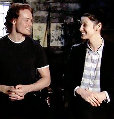 "(gif) - [Would you rather film a fight scene or a love scene?] Both: ""Fight scene."" Sam: ""If you combine the two, even better."""