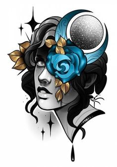 Ideen Tattoo Girl Face Traditionell - Famous Last Words Neo Traditional Roses, Traditional Rose Tattoos, Traditional Tattoo Design, American Traditional, Sketch Tattoo Design, Tattoo Sketches, Tattoo Drawings, Tattoo Designs, Tattoo Girls