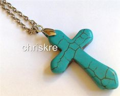 Turquoise Stone Cross Silver Plated Necklace Chunky 27 Inch Long Plus Size USA #Unbranded #Pendant