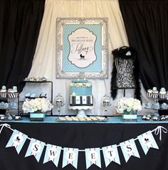Breakfast at Tiffany's baby shower dessert table