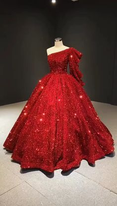 New Glitter Red Sequin Ball Gown Prom Dresses One Shoulder Quince Dress : Vintage Quinceanera dresses online. Pretty Quinceanera Dresses, Pretty Prom Dresses, Red Wedding Dresses, Formal Dresses For Weddings, Homecoming Dresses, Beautiful Dresses, Dress Prom, Ball Gowns Prom, Ball Gown Dresses