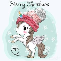 Cute Cartoon Unicorn in a hat. Greeting Christmas card Cute Cartoon Unicorn in a hat vector illustration Merry Christmas Images, Christmas Pictures, Christmas Greetings, Unicorn Images, Unicorn Pictures, Cartoon Unicorn, Unicorn Art, Illustration Noel, Christmas Illustration