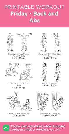 Friday Back and Abs WorkoutLabs Fit Friday Back and Absmy custo Back And Abs Workout, Gym Workout Plan For Women, Gym Workouts Women, Gym Workout For Beginners, Fitness Workout For Women, Workout Plans, Ab Workout At Gym, Abs At The Gym, Barbell Workout For Women