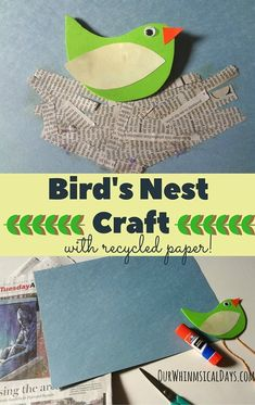 Quick and easy bird's nest craft for kids using recycled newspaper!
