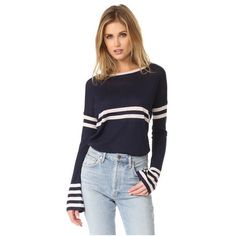 Autumn Cashmere Striped Cashmere Pullover ($300) ❤ liked on Polyvore featuring tops, sweaters, striped pullover, long sleeve tops, long sleeve pullover sweater, cashmere sweater and lightweight sweaters