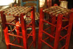Banquetas patinadas con cuero | Taller El Guatan