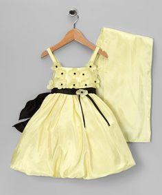 Yellow Daisy Bubble Dress & Shawl
