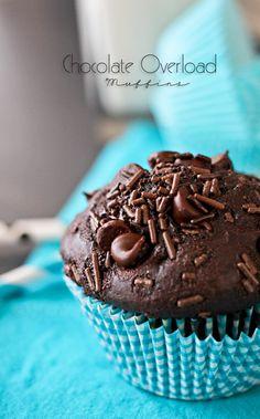 Chocolate Overload Muffins by Gina @ Kleinworth & Co. www.kleinworthco.com