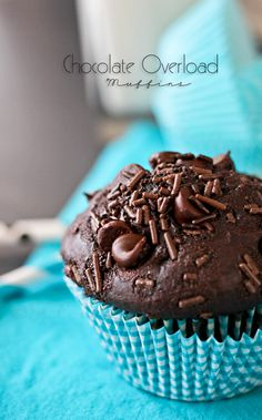 Chocolate Overload Muffins by Gina @ Kleinworth & Co. www.kleinworthco.com