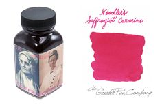 Special Goulet-exclusive Noodler's ink! 3oz (90ml) glass bottle of Noodler's Suffragist Carmine fountain pen ink. This pink ink honors the suffragette movement for women to win the right to vote in the US. The pink color represents the color of ink used for women to first vote on the ballot in Massachusetts, home of Noodler's Ink, and then became popular for women to use to write letters to each other. It is a good shader and highly fluorescent under black light. Limited production run!