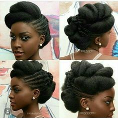 """""""Up Do"""" Style with Natural Hair. I like this as a wedding style."""