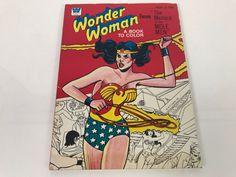 Vintage 1975 Wonder Woman Faces 'The Menace Of The Mole Men' Coloring Book DC Comics