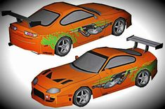 The Fast And The Furious - Toyota Supra 1994 Paper Model - by Wongday Papercraft - == -  A really cool paper model of the Toyota Supra 1994 with textures from The Fast and The Furious movies series, created by Indonesian designer Wong Hidayat, from Wongday Papercraft website.