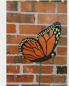 This butterfly measures 9 x 10 inches. It is made from 3/4 inch plywood which we prime, paint and then seal so they will last for a long time. We