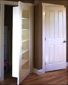 Swap out a regular door for a bookcase door. Step in my plan to have all kinds of secret rooms in my dream home! Bookshelf Door, Open Bookcase, Door Shelves, Closet Shelves, Hidden Rooms, Hidden Closet, Hidden Spaces, Secret Closet, Secret Rooms